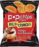 Popchips Ridged Potato Chips Tangy BBQ Potato Chips Single Serve 0.8 oz Bags (Pack of 72)