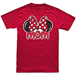 Disney Womens Minnie Mouse Mom Fan T Shirt (Small (4-6), Red)