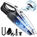 Holife Cordless Handheld Vacuum with Stainless Steel Filter (500 Times Washed), 8000PA Powerful Cyclonic Suction Rechargeable Lightweight Hand held Vac for Carpet, Hard Floor, Car Cleaning