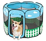 Pet Portable Foldable Play Pen Exercise Kennel Dogs Cats Indoor/outdoor tent for small medium large pets Animal Playpen with Pop up mesh cover great for travel by Etna