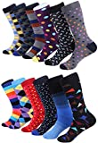 Marino Men's Fun Dress Socks - Colorful Funky Socks for Men - Cotton Fashion Patterned Socks - 12 Pack - Trendy Collection - 10-13