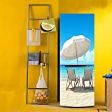 yazi Beach View Peel and Stick Freezer Decal Self-adhensive Contact Paper Paster 23.7x59inches