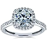 Cushion Moissanite Halo Engagement Ring 2 1/4 CTW 14k White Gold, 8