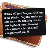 Engraved metal card insert, Wallet Love Note - Anniversary Gifts for men wallet insert, deployment gift for him, Anniversary Gift, Boyfriend Gift, husband gifts (Black)
