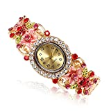 Outsta for Girls Gift Present Women Round Full Diamond Bracelet Watch Analog Quartz Movement Wrist Watch (Red)