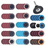 DRILLPRO 70Pcs Sanding Discs Set, 2 inch Roloc Quick Change Discs with 1/4 inch holder, Surface Conditioning Discs for Die Grinder Surface Strip Grind Polish Burr Finish Rust Paint Removal(Updated)
