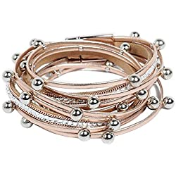 Artilady Shinning wrap Clasp Bangle for Women (Rose Gold)