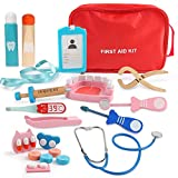 Beebeerun Role Play Doctor Kit for 4 5 6 7 8 Kids Girls Boys,Pretend Play Wooden Medical Kit Set,19 PCS with a Medical Carry Bag