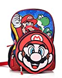 Nintendo Boys Backpack with Shaped Mario Head Lunch Kit, Red, One Size