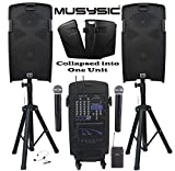 MUSYSIC M-Port PA2K 2000W Portable PA System 2x10' Speakers Dual UHF Wireless Mic Rechargeable Battery Bluetooth
