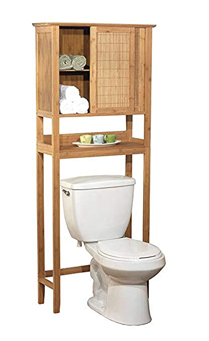 Amazon Com Natural Bamboo Space Saver Bathroom Storage Space Towel Shelf Over Toilet Kitchen Dining