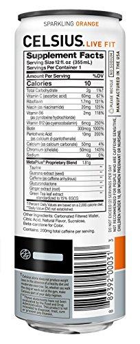 CELSIUS Sparkling Orange Fitness Drink, Zero Sugar, 12oz. Slim Can, 12 Pack 6