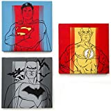 Justice League Canvas Wall Art and Décor including Batman, Superman and Flash. Three Piece Set including Mounting Hardware