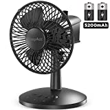EasyAcc Oscillating Desk Fan Portable Table Fan Built-in 5200mAh Battery Personal USB Powered Floor Fan with Adjustable Head 6-16 Hours 3 Speeds Quiet Enhanced Airflow for Travel Camping Office Home