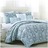 Tahari Home Vintage Damask Ornate Scroll Luxury Duvet Cover 3 Piece Bedding Set Antique Bohemian Paisley Medallion Taupe Tan Ivory Patterned 300tc Cotton Full/Queen or King (Queen, Turquoise)