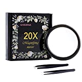 20X Magnifying Mirror &Slant Tip and Pointed Eyebrow Tweezer Set,Perfect for Precise Makeup Application for Facial Hair, Ingrown Hair,Splinter, Blackhead and Tick Remover. (Black)