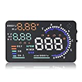 WonVon Car HUD Head-Up Display,Universal A8 Head Up Display 5.5' Dash Screen Projector OBD II OBD2 Auto Gauge Dash Projector Speedometer