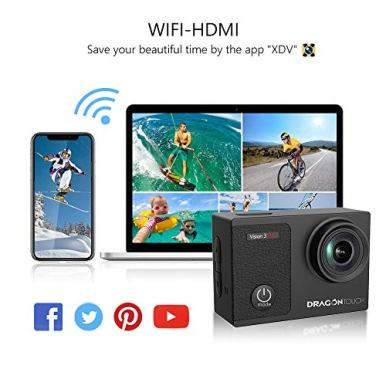 Dragon-Touch-4K-Action-Camera-Touch-Screen-16MP-Vision-3-Pro-PC-Web-Camera-100-feet-Waterproof-Camera-Adjustable-View-Angle-WiFi-Sports-Camera-with-Remote-Control-and-Helmet-Accessories-Kit