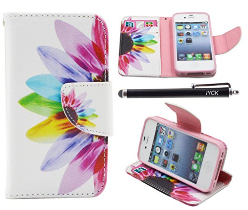 iPhone 4S Case, iPhone 4 Case Wallet, iYCK Premium PU Leather Flip Carrying Magnetic Closure Protective Shell Wallet Case Cover for iPhone 4 / 4S with Kickstand Stand - Colorful Flower