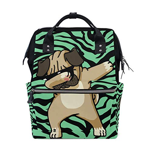 Dabbing Pug Hip Hop Diaper Bag Multi-Function Travel Backpack Nappy Tote Bags for Mom & Dad Large Capacity