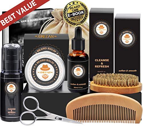 8 in 1 Free Beard Shampoo/ Wash Beard Care Growth Grooming Kit w/ Unscented Beard Oil+Beard Comb+Beard Balm+Beard Brush+Beard Scissors+Storage Bag+Gift Box