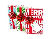 Hallmark Christmas Gift Card Holders with Bows and Gift Tags (Pack of 3: Trees, Peppermints, Happy Holidays), Red Bow - 5BCM1072