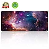 BUANIIH Galaxy Gaming Mouse Pad XL, Extended Large Mouse Mat Desk Pad, Stitched Edges Mousepad, Long Non-Slip Rubber Base Mice Pads (27.6'x11.8'x0.12')