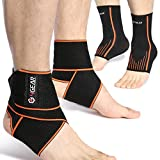 Ankle Support Kit - 4 Pack - Ankle Brace Straps (1 Pair) & Ankle Compression Sleeves with Arch Supports (1 Pair) - Best for Sports Protection, Injury Recovery, Reduce Swelling, Ankle Strain (Medium)