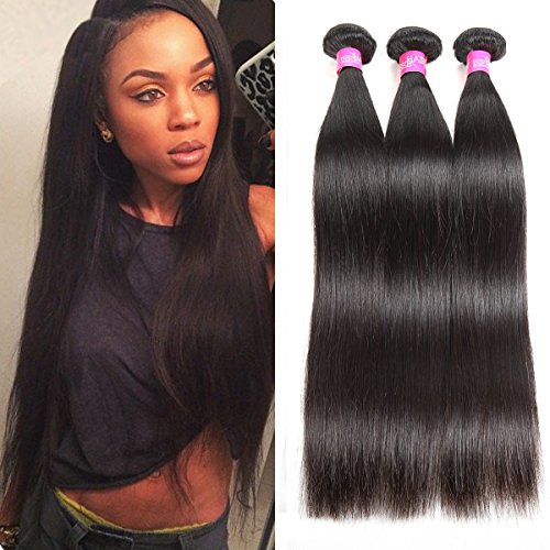 ISEE Hair 8A Malaysian Virgin Straight Hair 3 Bundles 100% Unprocessed Human Hair Weave Bundles Human Hair Extensions 3 Bundles Deal Natural Black 12 14 16inches