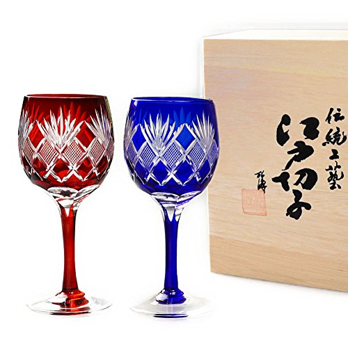Set of 2 Hand Blown Decorative Wine Glasses Edo Kiriko Cut Glass Sasa Nanako Bamboo Leaf Checed Pattern - Red & Blue [Japanese Crafts Sakura]
