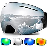 Zerhunt Ski Goggles, Snowboard Goggles Over Glasses, Anti Fog UV Protection Snow Goggles OTG Interchangeable Lens for Men Women Snowmobile, Skiing, Skating, Silver