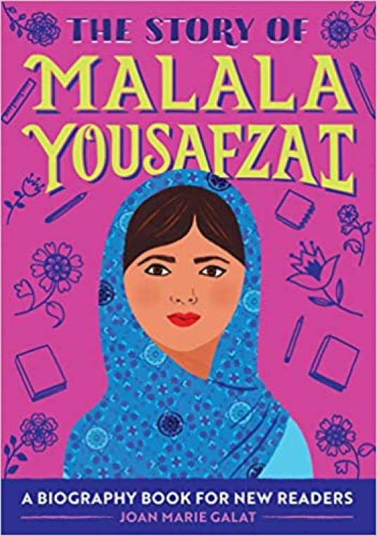 A book cover image showing Malala wearing a blue Hijab and a lighter blue shirt.  The background is magenta and there are outlines of books, pencils and flowers behind her.