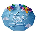10 ribs multi-function automatic on/off - sun protection - rainproof - windproof umbrella, theme - Paper art of thank you calligraphy hand lettering