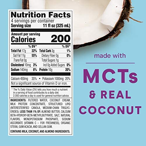 ZonePerfect Keto Shake, White Chocolate Coconut, True Keto Macros To Burn Body Fat, Made With MCTs, 11 fl oz, 12 Count 2