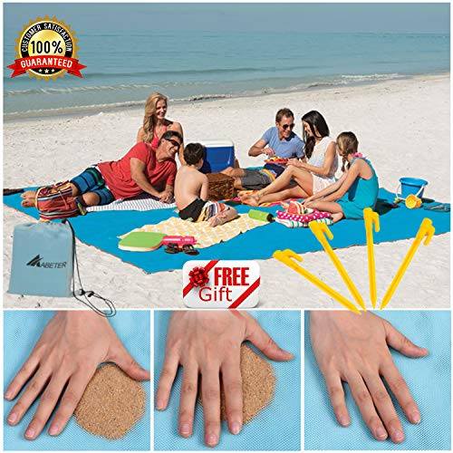 ABETER Sand Free Beach Mat Blanket (79'×57') Sand Proof Magic Sandless Sand Dirt & Dust Disappear Fast Dry Easy to Clean Waterproof Rug Avoid Sand Dirt and Grass Keep Everything Clean and Perfect