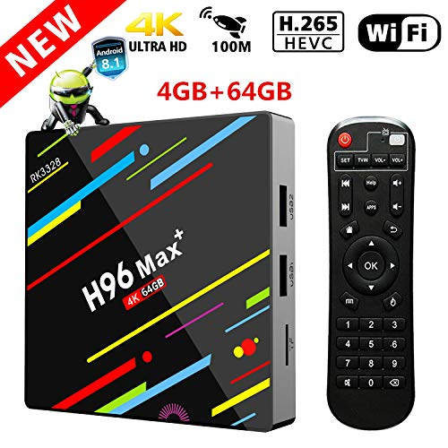 Androiod 8.1 TV Box, h96 max+ 4GB RAM 64GB ROM RK3328 Quad Core 64 Bits Processor Support 3D/4K/2.4G/5G Dual Wifi/100M LAN/H265 | Streaming Media Player