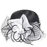 Kentucky Derby Dress Church Cloche Hat Sweet Cute Floral Bucket Hat (White)