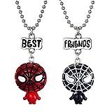 Eiffy 2 Pcs Cartoon Super Hero Spiderman Space Astronaut Spaceman Pendant Necklace Spider-Man for Women Best Friends Sets BFF Jewelry (Spiderman)
