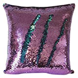Livedeal Reversible Sequins Mermaid Pillow Cases 4040cm Purple and Blue
