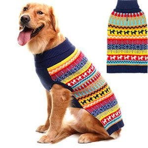 Mihachi Dog Sweater – Winter Coat Apparel Clothes with Colorful Stripes for Cold Weather