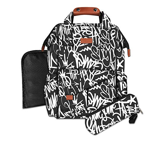 Hiphop diaper bag backpack for men By the physics of hiphop.  Water resistant, carry on laptop bag with Insulated pockets, USB port & baby wipe dispenser for the mom & dad who love hip hop
