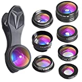 Apexel 7 in 1 Phone Lens Kit - Transform Your Phone into A Professional Camera - Fisheye,0.36x/0.63x Wide Angle,Macro,Zoom,CPL Filter,Kaleidoscope Lens for iPhone X/8/8 Plus/7/7 Plus/6s/6 Most Phones