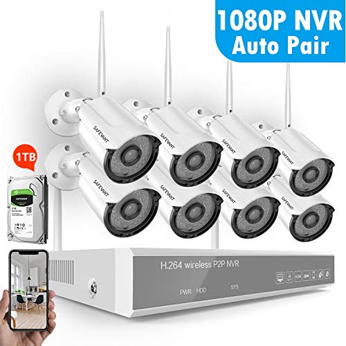 [1080P NVR] Security Camera System Wireless,Safevant 8CH 1080P Wireless Home Security Camera System(1TB Hard Drive),8PCS 960P Indoor/Outdoor IP66 Wireless Security Cameras,P2P,No Monthly Fee
