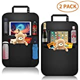 Car Organizer Back Seat,Car Back Seat Protector,Waterproof Kick Mat,Clear Touch Screen Tablet Holder for Kid/Travel with Multi Pocket ,Car Seat Organizer,Car Storage Organizer with 2 Pack(Black)