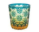 Ohba Glass Old-Fashoned Cut Glass Edo Kiriko, Japanese Traditional Craft in Gift Box Kaleidoscope (Green/Amber)