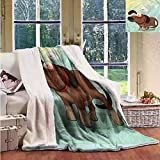 Outdoor Blanket Funny Puppy in Love Werner Dog Washable Shaggy Fleece Blanket W59x47L