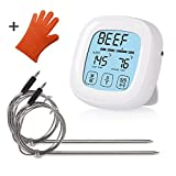 Digital Meat Cooking Thermometer, Lantoo Instant Read 2 Probes Touchscreen Oven Meat Thermometer & Timer with Countdown Timer,Magnets for Grill Smoker BBQ Meats, Dairy, Candy(White)
