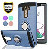 LG G4 Case, LG G4 Phone Cases with HD Phone Screen Protector,YmhxcY 360 Degree Rotating Ring & Bracket Dual Layer Resistant Back Cover for LG G4 (5.5' inch) 2015 Release-ZH Metal Slate