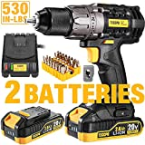 Drill, 20V Cordless Drill Driver 2x2000mAh Batteries, 530 In-lbs Torque, 24+1 Torque Setting, Fast Charger 2.0A, 2-Variable Speed, 33pcs Accessories, 1/2' Metal Keyless Chuck, Upgraded Version