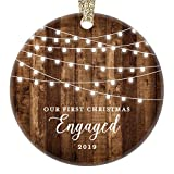 Engagement Keepsake Gifts 2019 First Christmas Engaged Ornament Newly Engaged Couple 1st Holiday Rustic Farmhouse Woodgrain Present 3' Flat Circle Porcelain with Gold Ribbon & Free Gift Box